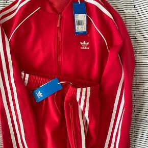 Super fin rød Adidas træningsdragt som aldrig har været brugt. Buks (CE2401) og overdel/trøje (CE2393).