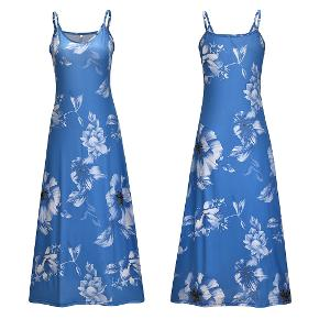 This is a blue dress with white flowers on it. This blue, white flower dress is made of cotton and polyester. The measurements for this blue and white flower dress are 127 cm in the length and 85-95 cm in the bust.  The blue, white flower dress is a size medium and has adjustable straps at the shoulders.   visit debstilbud.dk