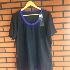Helt ny sort t-shirt med turkisblå kanter str 48 Overvidde 66x2 Længde 74 cm Materialet er 96% polyamid og 4% elastan  Jeg har tabt mig 28 kg, og sælger alt mit tøj Så kg evt mine andre annoncer