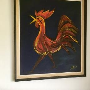 Stort flot maleri af en hane