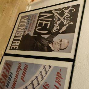 3 genoptryk af Venstrebladet i glas og sort listeramme.Ramme og glas er i sig selv 200 kr pr. billede + plakater. Original værdi 900.