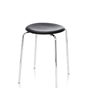 "DOT stool by Fritz Hansen in black ash. The seat is made of coloured ash veneer and the frame is made of chrome steel. It is new incl. warranty (guess the warranty is many years as it says ""up to 25"")."
