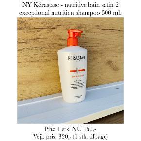 NY Kérastase - nutritive bain satin 2 exceptional nutrition shampoo 500 ml.   Pris: 1 stk. NU 150,- Vejl. pris: 320,- (1 stk. tilbage)   Se også over 200 andre nye produkter, som jeg har til salg herinde :-)