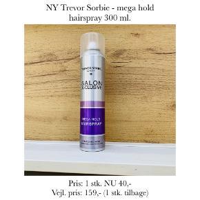 NY Trevor Sorbie - mega hold hairspray 300 ml.   Pris: 1 stk. NU 40,-  Vejl. pris: 159,- (1 stk. tilbage)   Se også over 200 andre nye produkter, som jeg har til salg herinde :-)