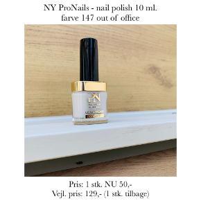 NY ProNails - nail polish 10 ml. farve 147 out of office  Pris: 1 stk. NU 50,-  Vejl. pris: 129,- (1 stk. tilbage)   Se også over 200 andre nye produkter, som jeg har til salg herinde :-)