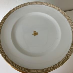 17 stk tallerkner med guldkant og guld rose i midten fra b & g. Jeg har fundet en enkel med skår. Kom med et bud, afhentes.