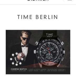 Nyt sort Time Berlin Spy Watch herreur i original forseglet emballage. Uret har sort læderrem og er i stainless steel.  Uret har følgende funktioner:  Video & Photo camera, Microphone, Webcam, I Watch, Infra-red, Night Vision, USB 2.0 og 8 GB International Memory. Der medfølger kabler.  Normalpris: 1500,- Sælges for 800,- Sender gerne.