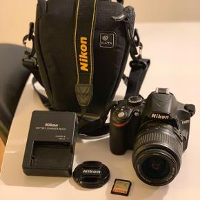Rigtig godt Nikon D3200 spejlrefleks kamera næsten aldrig brugt ingen ridser. Med taske og memory card på 16gb