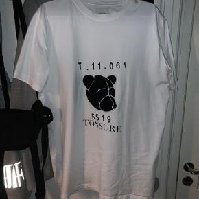 Sample Tonsure T Shirt From 2019 White with Black Carpet Bear Stamp, black printed front.  Worn once.