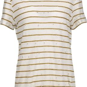 Lækker t-shirt fra Iro. Model: MINA Størrelse: small (passer også en medium) Materiale: hør Farve: hvid (creme) og sand (tan). Nypris: jeg mener, at den kostede kr. 950,-  Fremstår, som ny.