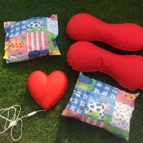 4 puder som kun har ligget til pynt kort tid. Lampe fra ikea rødt hjerte med pære og afbryder.