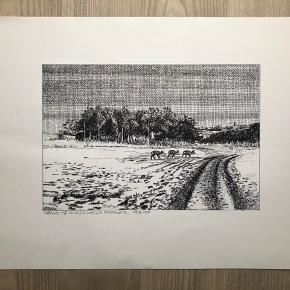 """Tegning/grafik af Erik Holbech Mortensen """"Rådyr på Hindsgavls marker feb. 99""""  Størrelse: 30x40 cm.   Sender gerne 👀"""