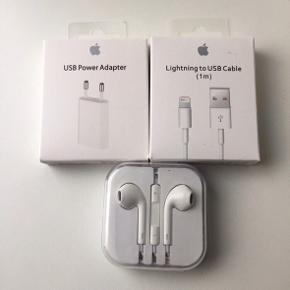 3 oplader, passer til iphone 5,6,7,8, x.  Høretelefoner kan kun bruges til iphone  5 og 6.  Helt ny, aldrig brugt.