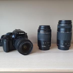 Canon eos 1100D /sort  Canon zoom lens 18-55mm Canon zoom lens 55-200 = 2500 kr.  Oplader og SD kort medfølger :)   Jeg er meget villig til at forhandle med pris.