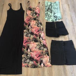 Sælger denne tøj pakke i str. 38/M. Der er lidt forskelligt som 2 stk. kjoler, 1 stk. top, 1 par højtaljet shorts med lynlås i bag og 1 stk. nederdel. Forskellige mærker som Global funk og Vero Moda.