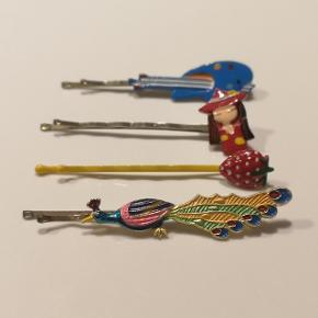 4 hårspænder fra 80'erne med forskellige figurer.