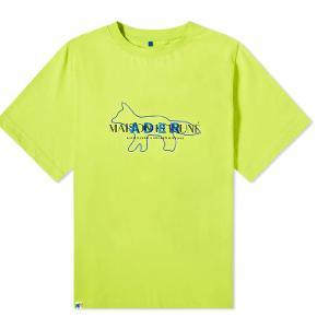 Maison Kitsune x Andet Error layout tee Grøn colorway Size A2 (fitter oversize L eller TTS XL) Kond 9/10 Limited edition Collab, udsolgt overalt Sælges da den er for stor