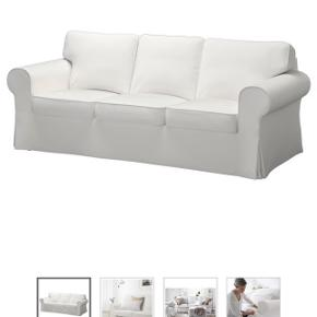 Ektorp 3.pers sofa. Betrekket trænger til en god omgang vask. Man kan eventuelt købe nyt betrek til sofaen for 400kr i Ikea.