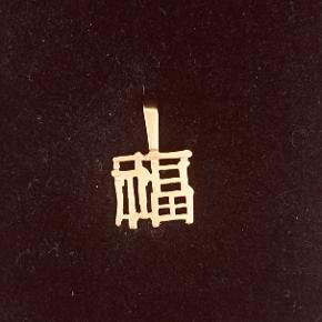 """Guldvedhæng """"betyder lykke"""" 14 karat lille fint og enkelt vedhæng"""