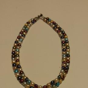 Joli collier en perles d'eau douce authentiques, ras du cou, 37cm, belles couleurs, jamais porté