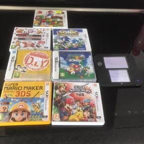 Nintendo DS2 I god stand med 7 spil. Mario 3d land, Ultimate NEX remix, Sonic generations, Super mario 64 DS, Super Smash bros, Super mario maker 3DS, Wario Ware. samt taske.