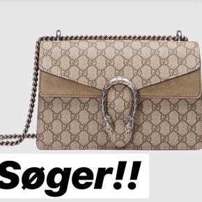 Jeg søger denne Gucci dionysus taske small Skal være i god stand og alt skal følge med, posen er dog ligemeget. Skriv hvis i sælger💕💕