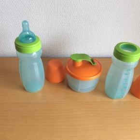 TupperCare sutteflasker og Baby Trio, som er ideel til dosering af modermælkserstatning og til transport.   Nypris ca. 400,-