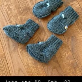 Joha uldvanter / vanter / luffer i uld og uldfutter / futter / sko. Hedder str 60. Vi brugte dem fra nyfødt - 3/4 måneder