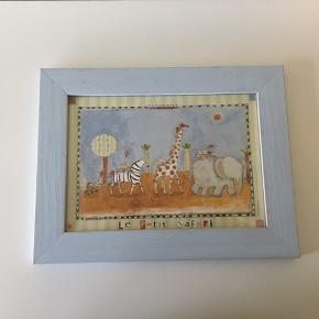 Le petit safari billede i svag lyseblå ramme Str. 26 x 20 cm 🐘🦒🦓