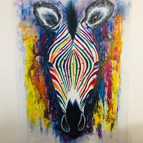 Super fint billede af zebra (akryl på lærred) størrelse 110 x 150 cm