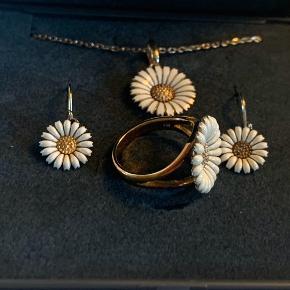 Flot margurit sæt. Forgyldt sølv. Stemplet 925. Ringen er str 51, øreringene er solgt. Prisen er for halssmykke og ring 🌷🌷
