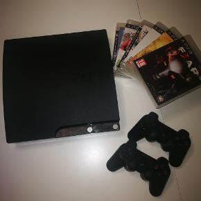 Fin PlayStation 3 med to kontrollere og 6 spil.næsten nyt Byd