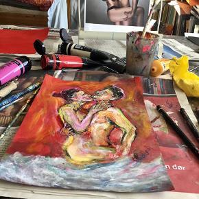 """Nyere original ekspressiv kunst på papir (21x30 cm) . """"Lovers"""" af Mette Munch. Erotisk kunst. Det er blanding af acryl, oliepastel og kul. Der er i en sølv ramme. Men kan altid byttes til anden ramme. Se mere af min kunst på www.mettemunch-galleri.dk"""