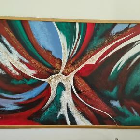 Køb nu! Før den bliver solgt på auktion. Super flot og udtryksfuld stort maleri i en pragtfuld ramme. Skal ses i virkeligheden! 190×125 cm. Det er ikke så tung som det ser ud og kan håndteres bare af en person. Fornuftige bud modtages.