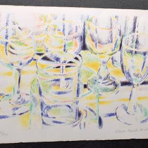 Skønt litografi af Vibeke Mencke Nielsen  40 x 30 cm  Kant lidt tryk men uden betydning for billedet  Sendes ikke  BYD