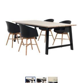 Rigtig fint spisebordssæt fra Jysk - magen til det på billedet. Bord med fire stole.  Få brugsspor. Prisen kan forhandles og bordet kan godt købes uden stolene, hvis det ønskes. Sælges pga. flytning. Befinder sig i Frederikshavn.