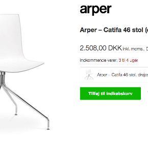 6 Super fede drejestole fra Arper -Catifa 46. Flot stand og super sidde komfort. Sælges samlet og skal afhentes på Frederiksberg. Nypris samlet: 15000,- Mindstepris samlet 8000,- kr.