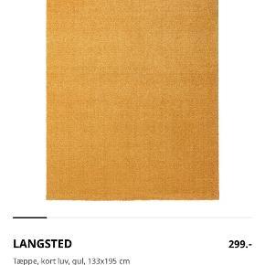 Tæppe fra Ikea i gul - måler 133 x 195 cm