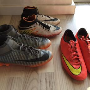 Fodboldstøvler søger nyt hjem 50 kr. pr. par.  CR7 fodbolstøvle i str. 40,5. Indvendig mål er 25,5 cm Hypervenom fodboldstøvle i str. 38, indvendig mål er 24 cm. Mercurial fodboldsko i str. 37,5. Indvendig mål er 23,5 cm.