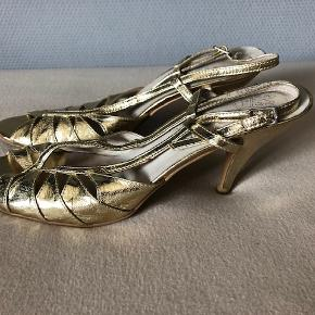 FRIIS & Co Sandaler gyldent læder 41, brugt 1 gang, næsten som nye