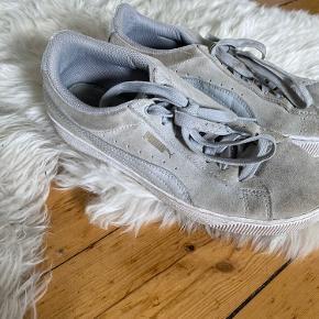 Sælger mine lækre PUMA plateau sneakers i suede Grey ( grå ) 🧚🏻  De trænger blot at blive renset med en varm klud eller lign, så er de sådanset nye igen. 🌸 Der er nemlig ikke rigtig noget slid ellers.    NP. 600kr  Mp. BYD   OBS:‼️ sælger lige nu - billigt - ud af en masse forskelligt mærketøj, tjek det ud! 🔆 🍒