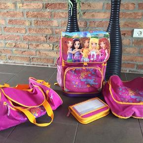 LEGO Friends skoletaske, gymnastiktaske, penalhus (uden indhold) samt sportstaske