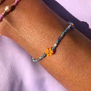 Perle armbånd smykker Petrolium blå med orange  Mål: 16 cm 💮 Prisen er fast og inkl Porto med postnord