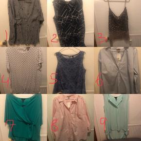 Jeg sælger en masse plussize tøj i rigtig fin stand. Bluser/skjorterne koster 30 kr. Stykket.  1 - skjorte, ZbyZ, XL 2 - Tunica, Koko, 24 (UK str) 3 - top med pailletter, ASOS, 26 (UK str) 4 - bluse, H&M, 54 5 - peplum top, New Look, 22 (UK str) 6 - skjorte, H&M, 52 7 - bluse, New Look, 24 (UK str) 8 - skjorte, H&M, 52 9 - bluse, H&M, 44  Eventuel Porto betales af køber efter aftalt pris.