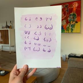 Plakat / poster / billede / maleri af bryster i forskellige former og størrelser. Malet på akvarel-papir med lilla vandfarve.   Skriv hvis du ønsker at få maler noget bestemt
