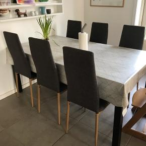 6 spisebords stole i stof og træ ben..