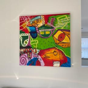 Super flot maleri af Line B 100 x 100 cm. Fra ikke ryger hjem.