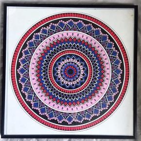 Original illustration af en håndtegnet mandala.  Sælges med ramme. Måler 30x30 cm.