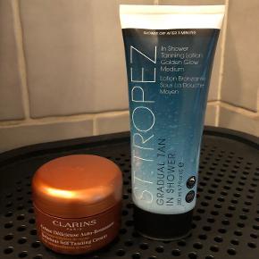 St Tropez selvbruner NY  Gradual Tan In Shower Golden Glow Medium er en banebrydende og unik selvbruner-lotion formuleret til at give en dybde solbrun glød, når du bruger den i dit daglige brusebad.  Den unikke formel virker på ren, våd hud, på bare tre minutter. Efter badet begynder de aktive ingredienser at virke. Farven udvikles gradvis ved regelmæssig anvendelse. Brug 4-5 dage ad gangen for de bedste resultater. 85 kr    Clarins Delicious Self Tanning Cream - Brugt 1 gang  Den meget lækre karamelfarve bliver en maget ensartet og ægte kakao-ekstrakt. Denne delikate selvbruner gør at huden klarere og giver ansigt og krop en naturlig solbrun farve. Indeholder: 125ml 85 kr  SAMLET 150 kr + porto