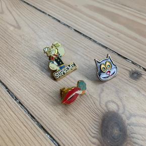 Supreme Mixed Pin Set  Supreme Cat Pin Supreme Smoking Lips Pin Supreme Popeye Pin